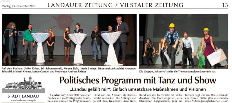 Landauer Zeitung vom 25.11.13:
