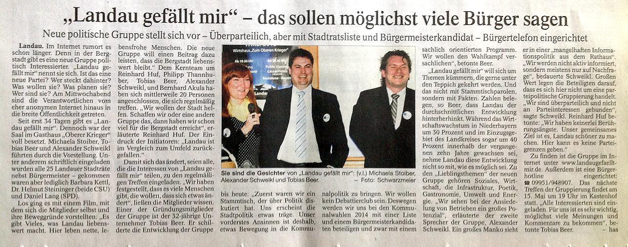 Zeitungsartikel LNP 2013-05-03