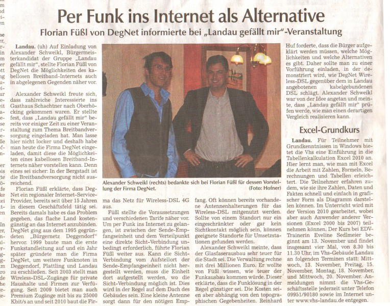 Zeitungsartikel Per Funk ins Internet als Alternative