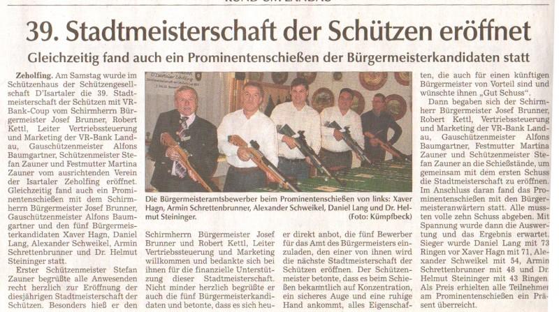Zeitungsartikel Schützenmeisterschaft Prominentenschießen der Bürgermeisterkandidaten
