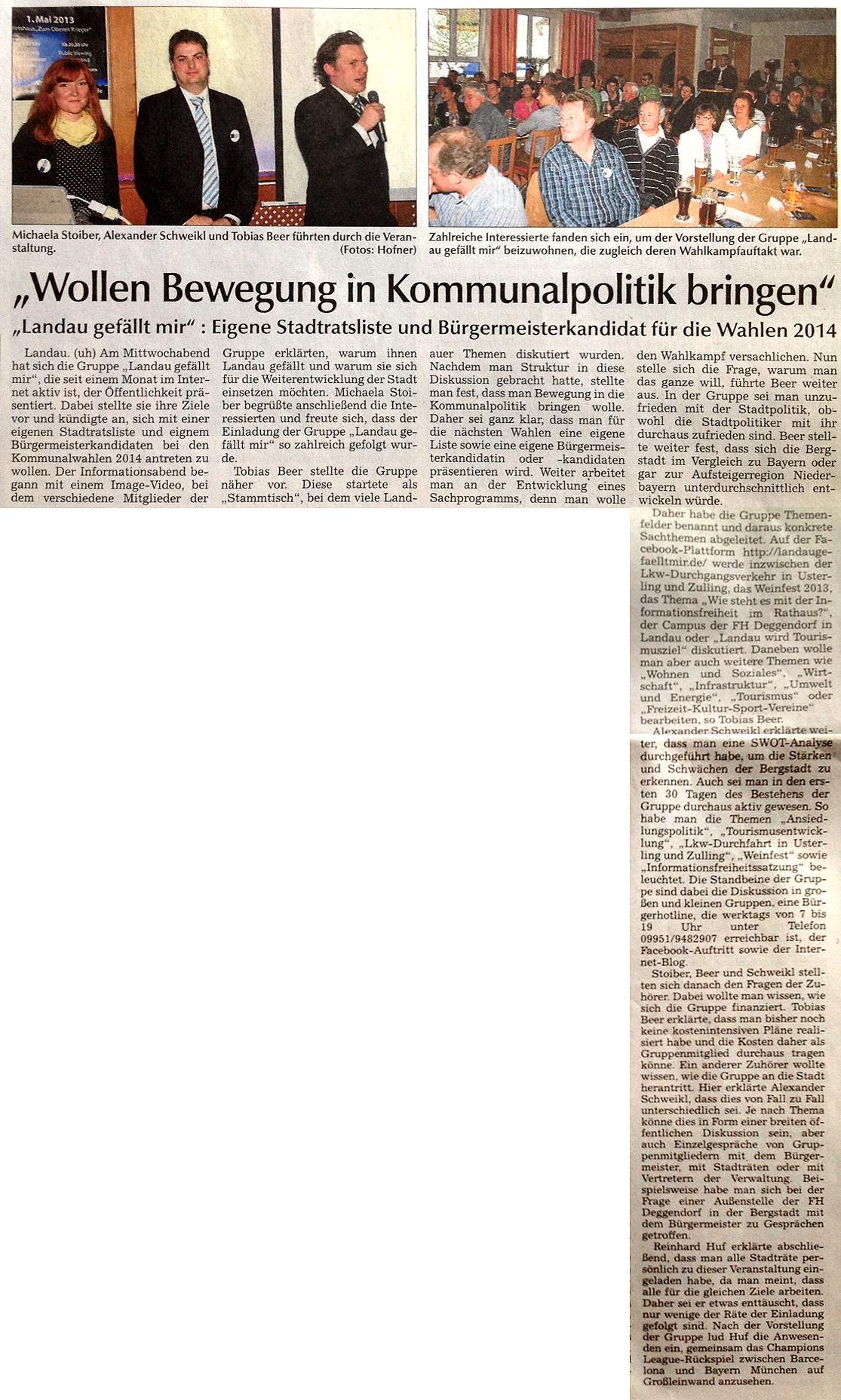 Zeitungsartikel Landauer Zeitung 2013-05-03