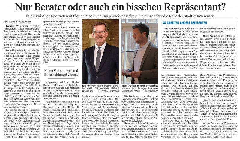 Landauer Neue Presse vom 23.04.2016